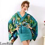 <Love Rich>リボン付きサテン&ストレッチギャザーミニ花魁着物ドレス衣装 よさこい(グリーン)(衣装・コスチューム)