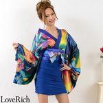 <Love Rich>リボン付きサテン&ストレッチギャザーミニ花魁着物ドレス衣装 よさこい(ロイヤルブルー)(衣装・コスチューム)