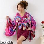 <Love Rich>リボン付きサテン&ストレッチギャザーミニ花魁着物ドレス衣装 よさこい(パープル)(衣装・コスチューム)