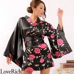 <Love Rich>薔薇柄ミニ着物ドレス 和柄 衣装 花魁 キャバドレス (ブラック)(衣装・コスチューム)