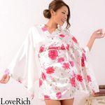 <Love Rich>薔薇柄ミニ着物ドレス 和柄 衣装 花魁 キャバドレス (ホワイト)(衣装・コスチューム)
