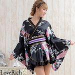 <Love Rich>ゴールドパイピングフリルサテンミニ着物ドレス 花魁 キャバドレス (ブラック)(衣装・コスチューム)