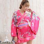 <Love Rich>ゴールドパイピングフリルサテンミニ着物ドレス 花魁 キャバドレス (チェリー)(衣装・コスチューム)