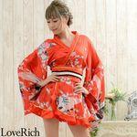 <Love Rich>ゴールドパイピングフリルサテンミニ着物ドレス 花魁 キャバドレス (レッド)(衣装・コスチューム)