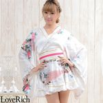<Love Rich>ゴールドパイピングフリルサテンミニ着物ドレス 花魁 キャバドレス (ホワイト)(衣装・コスチューム)