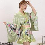 <Love Rich>ゴールドパイピングフリルサテンミニ着物ドレス 花魁 キャバドレス (グリーン)(衣装・コスチューム)