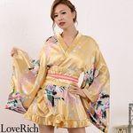 <Love Rich>ゴールドパイピングフリルサテンミニ着物ドレス 花魁 キャバドレス (ゴールド)(衣装・コスチューム)
