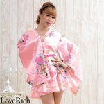 <Love Rich>ゴールドパイピングフリルサテンミニ着物ドレス 花魁 キャバドレス (ピンク)(衣装・コスチューム)