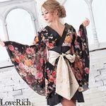 <Love Rich>シフォン花柄着物ドレス 和柄 衣装 花魁 キャバドレス (ブラック)(衣装・コスチューム)