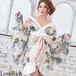 <Love Rich>シフォン花柄着物ドレス 和柄 衣装 花魁 キャバドレス (ホワイト)(衣装・コスチューム)