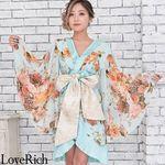 <Love Rich>シフォン花柄着物ドレス 和柄 衣装 花魁 キャバドレス (ライトブルー)(衣装・コスチューム)