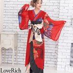 <Love Rich>シフォンパネル柄ロング着物ドレス 衣装 花魁 キャバドレス (レッド)(衣装・コスチューム)