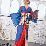 <Love Rich>シフォンパネル柄ロング着物ドレス 衣装 花魁 キャバドレス (ブルー)(衣装・コスチューム)
