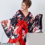 <Love Rich>和柄着物ドレス 和柄 衣装 花魁 キャバドレス (ブラックレッド)(衣装・コスチューム)