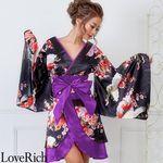 <Love Rich>和柄着物ドレス 和柄 衣装 花魁 キャバドレス (ブラックパープル)(衣装・コスチューム)