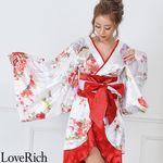 <Love Rich>和柄着物ドレス 和柄 衣装 花魁 キャバドレス (ホワイトレッド)(衣装・コスチューム)