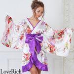 <Love Rich>和柄着物ドレス 和柄 衣装 花魁 キャバドレス (ホワイトパープル)(衣装・コスチューム)
