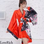 <Love Rich>ツートンカラーアシンメトリー孔雀柄着物ドレス 和柄 衣装 花魁 キャバドレス (ブラックレッド)(衣装・コスチューム)