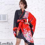 <Love Rich>ツートンカラーアシンメトリー孔雀柄着物ドレス 和柄 衣装 花魁 キャバドレス (レッドブラック)(衣装・コスチューム)