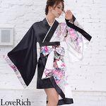<Love Rich>ツートンカラーアシンメトリー孔雀柄着物ドレス 和柄 衣装 花魁 キャバドレス (ホワイトブラック)(衣装・コスチューム)