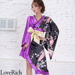 <Love Rich>ツートンカラー金帯孔雀柄着物ドレス 和柄 衣装 花魁 キャバドレス (ブラックパープル)(衣装・コスチューム)