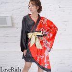 <Love Rich>ツートンカラー金帯孔雀柄着物ドレス 和柄 衣装 花魁 キャバドレス (レッドブラック)(衣装・コスチューム)