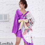 <Love Rich>ツートンカラー金帯孔雀柄着物ドレス 和柄 衣装 花魁 キャバドレス (ホワイトパープル)(衣装・コスチューム)