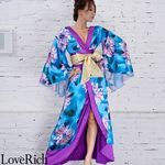 <Love Rich>サテン花柄ロング着物金帯ドレス 衣装 花魁 キャバドレス (ブルー)(衣装・コスチューム)