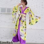<Love Rich>サテン花柄ロング着物金帯ドレス 衣装 花魁 キャバドレス (イエロー)(衣装・コスチューム)