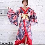 <Love Rich>サテン花柄ロング着物金帯ドレス 衣装 花魁 キャバドレス (レッド)(衣装・コスチューム)