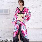 <Love Rich>サテン花柄ロング着物金帯ドレス 衣装 花魁 キャバドレス (チェリーピンク)(衣装・コスチューム)