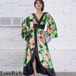 <Love Rich>サテン花柄ロング着物金帯ドレス 衣装 花魁 キャバドレス (グリーン)(衣装・コスチューム)