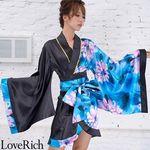 <Love Rich>ツートンカラー花柄着物ドレス 和柄 衣装 花魁 キャバドレス (ブルー)(衣装・コスチューム)