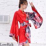 <Love Rich>ツートンカラー花柄着物ドレス 和柄 衣装 花魁 キャバドレス (レッド)(衣装・コスチューム)