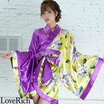 <Love Rich>ツートンカラー花柄着物ドレス 和柄 衣装 花魁 キャバドレス (パープル)(衣装・コスチューム)
