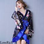 <Love Rich>孔雀和柄着物ドレス 和柄 衣装 花魁 キャバドレス (ブラックロイヤルブルー)(衣装・コスチューム)