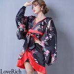 <Love Rich>孔雀和柄着物ドレス 和柄 衣装 花魁 キャバドレス (ブラックレッド)(衣装・コスチューム)