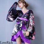 <Love Rich>孔雀和柄着物ドレス 和柄 衣装 花魁 キャバドレス (ブラックパープル)(衣装・コスチューム)