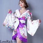 <Love Rich>孔雀和柄着物ドレス 和柄 衣装 花魁 キャバドレス (ホワイトパープル)(衣装・コスチューム)