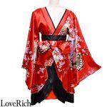 <Love Rich>孔雀和柄着物ドレス 和柄 衣装 花魁 キャバドレス (レッドブラック)(衣装・コスチューム)