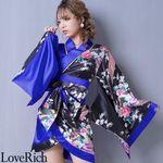 <Love Rich>ツートンカラー孔雀和柄着物ドレス 和柄 衣装 花魁 キャバドレス (ブラックロイヤルブルー)(衣装・コスチューム)