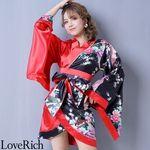 <Love Rich>ツートンカラー孔雀和柄着物ドレス 和柄 衣装 花魁 キャバドレス (ブラックレッド)(衣装・コスチューム)