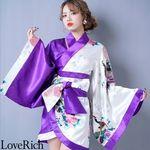 <Love Rich>ツートンカラー孔雀和柄着物ドレス 和柄 衣装 花魁 キャバドレス (ホワイトパープル)(衣装・コスチューム)