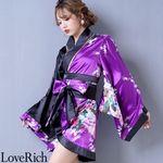 <Love Rich>ツートンカラー孔雀和柄着物ドレス 和柄 衣装 花魁 キャバドレス (パープルブラック)(衣装・コスチューム)
