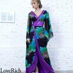 <Love Rich>フラワープリントリボンつきロング着物ドレス 和柄 花魁 キャバドレス (グリーンパープル)(衣装・コスチューム)