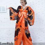 <Love Rich>フラワープリントリボンつきロング着物ドレス 和柄 花魁 キャバドレス (オレンジ)(衣装・コスチューム)
