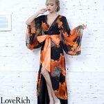 <Love Rich>フラワープリントリボンつきロング着物ドレス 和柄 花魁 キャバドレス (オレンジブラック)(衣装・コスチューム)