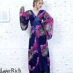 <Love Rich>フラワープリントリボンつきロング着物ドレス 和柄 花魁 キャバドレス (ネイビー)(衣装・コスチューム)