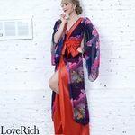 <Love Rich>フラワープリントリボンつきロング着物ドレス 和柄 花魁 キャバドレス (ネイビーレッド)(衣装・コスチューム)