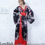 <Love Rich>孔雀和柄ロング着物ドレス 和柄 花魁 キャバドレス (ブラック)(衣装・コスチューム)